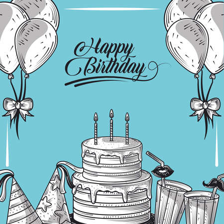 happy birthday cake with candle balloons hat and drinks party, engraving style blue background vector illustration