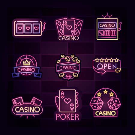 casino, light banner, billboard, bright light advertising gambling neon sign vector illustration