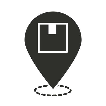 delivery gps navigarion location pin box vector illustration silhouette icon