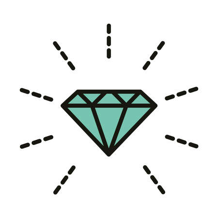 diamond jewelry luxury gem celebration party, line and fill style vector illustration