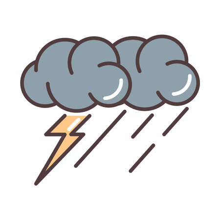 weather stormy thunder and rain season vector illustration line and fill style