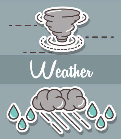 weather storm hurricane rain clouds gray background vector illustration line and fill style