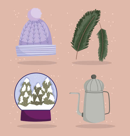 winter icons set warm hat snowball teapot and branches tree vector illustration