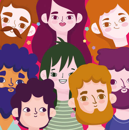 portraits of faces of men and women avatar character in cartoon background vector illustration