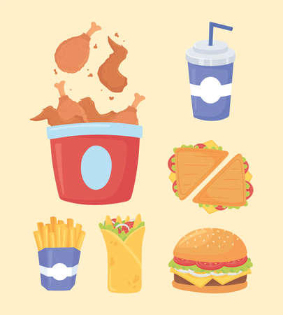 fast food, chicken sandwiches french fries burger and soda vector illustration