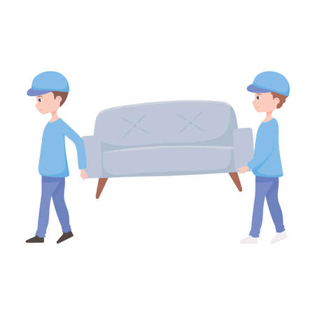 new home, professional workers, carrying sofa furniture movers vector illustration