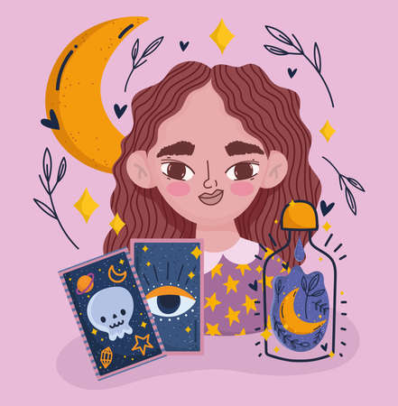 magic girl with tarot card mystic fortune teller cartoon vector illustration