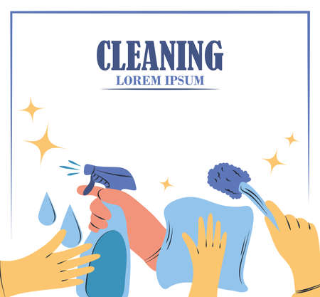 cleaning supplies hand with gloves and toilet brush spray and rag vector illustration