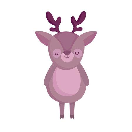 cute reindeer cartoon animal icon white background vector illustration Ilustração