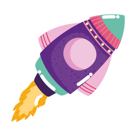 space shuttle launching adventure galaxy cartoon icon vector illustration