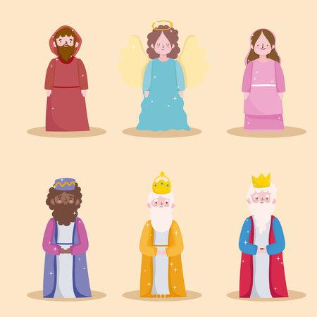 happy epiphany, three wise kings holy mary jospeh and angel vector illustration