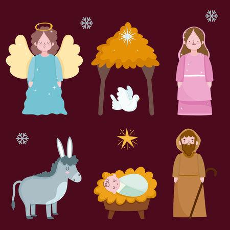 happy epiphany, holy mary jospeh baby jesus dove donkey and angel vector illustration