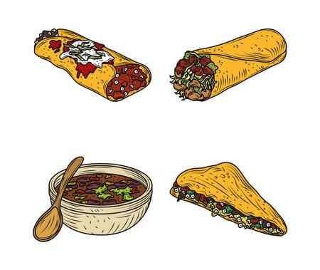 mexican food traditional icons enchilada burrito quesadilla sauce, engraved color vector illustration