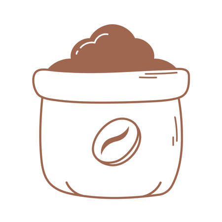 sack with product agriculture coffee icon in brown line vector illustration