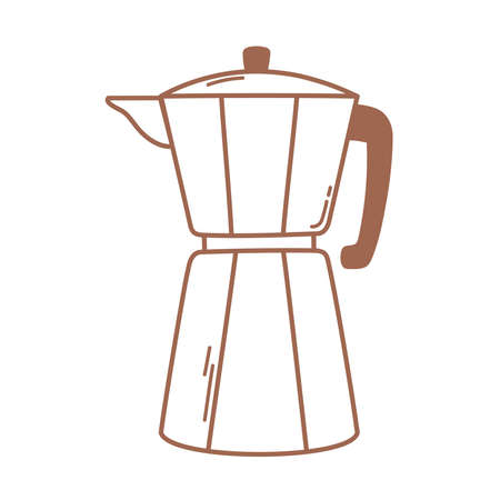 coffee brewing moka pot icon in brown line vector illustration