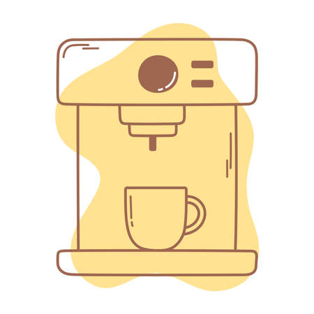 coffee espresso machine and cup icon line and fill vector illustration