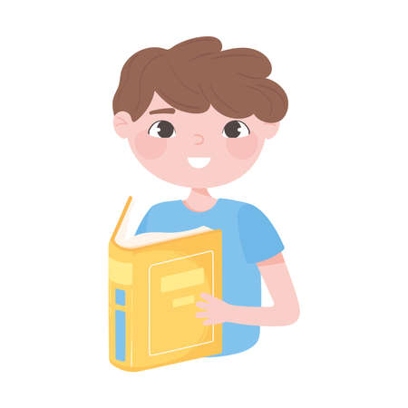 cute boy reading book cartoon icon white background vector illustration