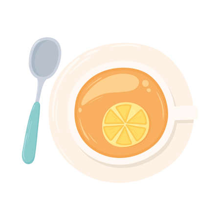 tea cup in dish with lemon and spoon design isolated top view vector illustration