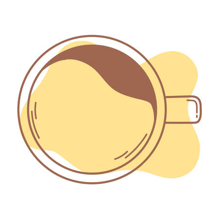top view coffee cup beverage icon line and fill vector illustration Ilustração