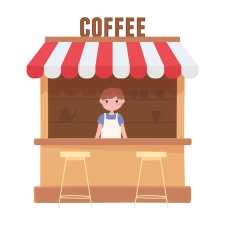 seller in coffee local shop small business, design white background vector illustration