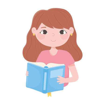 cute girl reading a book icon white background vector illustration