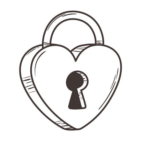 padlock shaped heart love romantic doodle icon design vector illustration