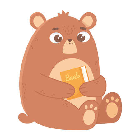 bear with book cartoon cute animal icon white background vector illustration