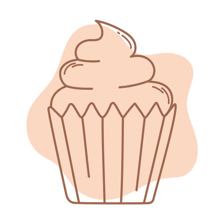 sweet cupcake dessert food icon line and fill vector illustration