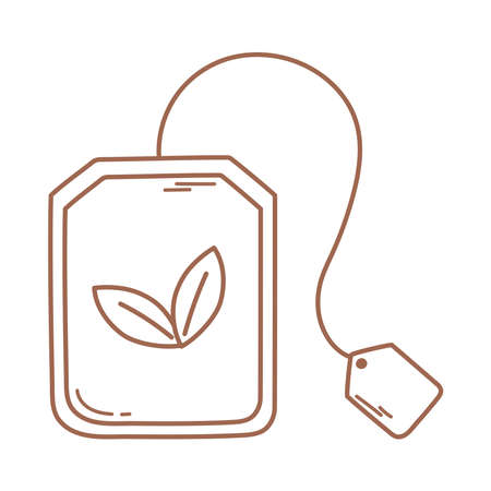 teabag herbs fresh icon in brown line vector illustration