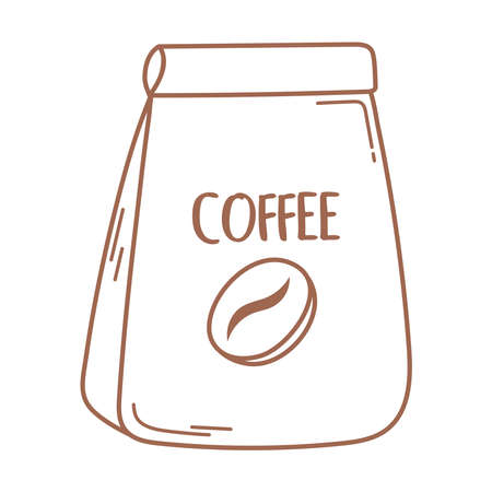 coffee package product icon in brown line vector illustration