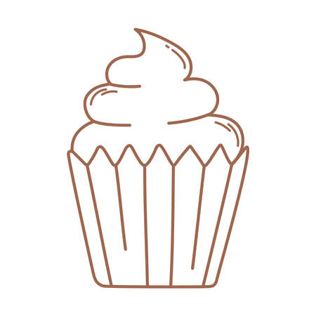 sweet cupcake dessert food icon in brown line vector illustration