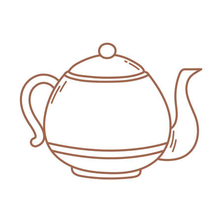 coffee kettle kitchen traditional icon in brown line vector illustration