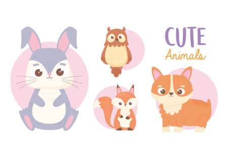 cute animals little rabbit dog owl and squirrel cartoon icons vector illustration