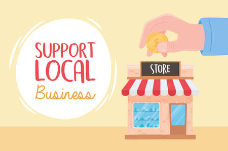 support local business, hand with money on store vector illustration