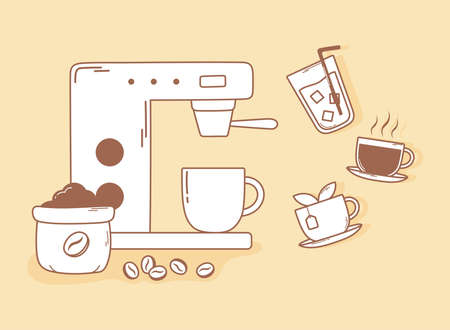 coffee espresso machine grains tea and cup in brown line vector illustration Çizim