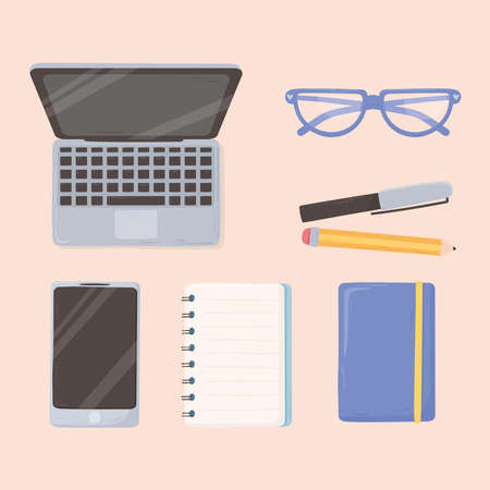 laptop smartphone notepad pencil and glasses workspace office top view design vector illustration Çizim