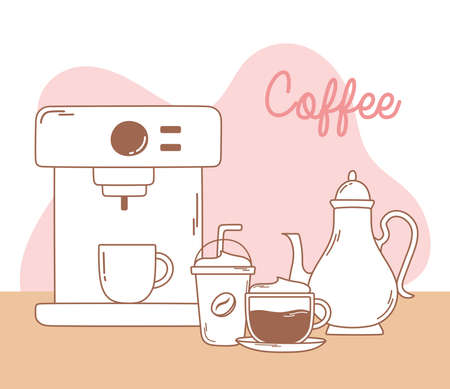coffee machine frappe kettle and cappuccino line and fill vector illustration