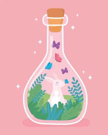 jar terrarium with rabbit butterflies tiny green tree cartoon vector illustration