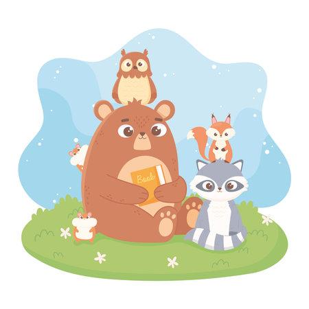 cute animals bear owl raccoon hamster squirrel cartoon vector illustration