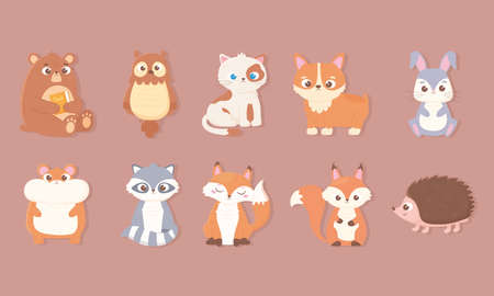 cute animals icons set with bear rabbit owl cat dog hamster fox raccoon squirrel and hedgehog vector illustration