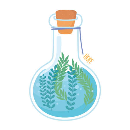 jar terrarium water leaves foliage with cork icon white background vector illustration