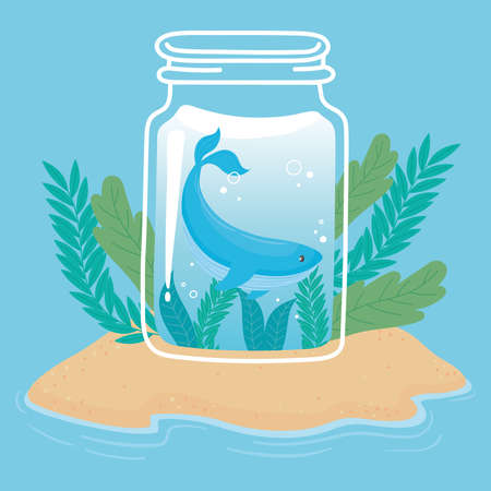 jar cute tiny whale water on island sand ocean cartoon vector illustration