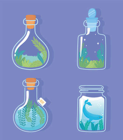 jar terrarium with whale unicorn and rabbit plants foliage nature decoration and cork vector illustration Çizim