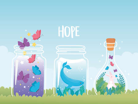 jar terrarium, whale rabbit and butterflies with plants decoration vector illustration