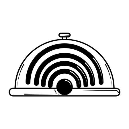 restaurant wifi internet service in line style vector illustration