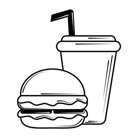 restaurant fast food burger and soda in line style vector illustration Çizim