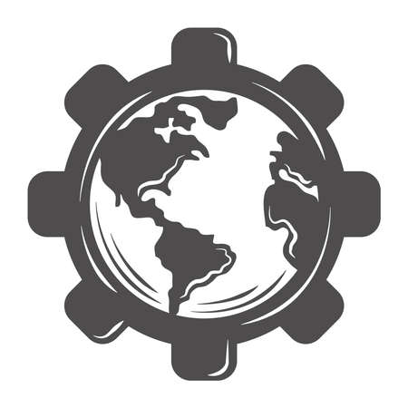 world globe map in gear silhouette icon style vector illustration
