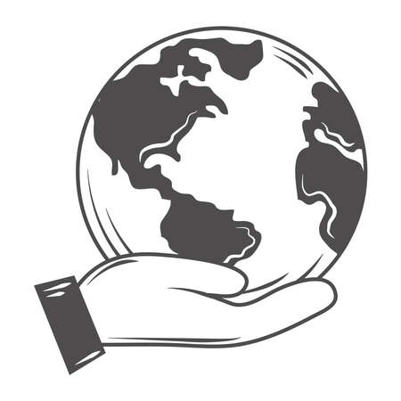 hand holds world globe map ecology save the planet vector illustration