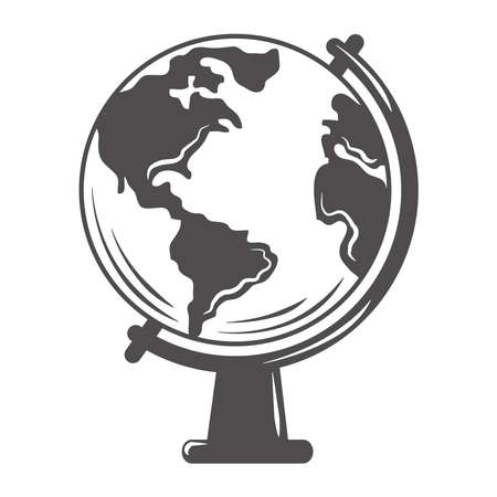 world globe map school education silhouette icon vector illustration