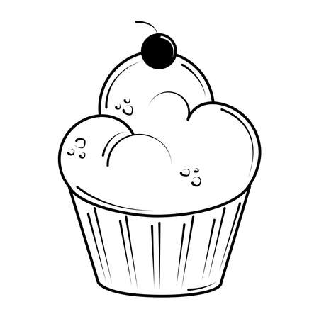 restaurant baked sweet cupcake with fruit in line style vector illustration
